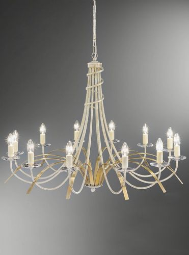 Franklite FL2233/12 Painted Cream / Gold Pendant Light